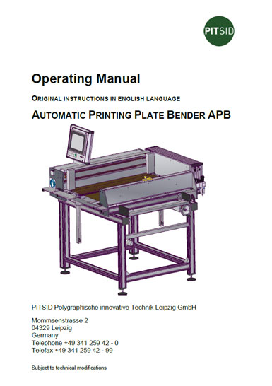 PDF-Download - Automatic Printing Plate Bender APB - Operation Manual